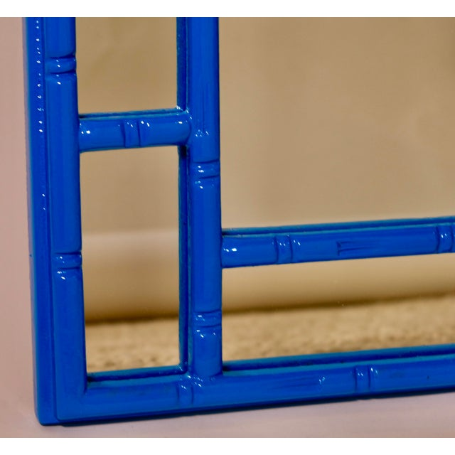 Hollywood Regency Greek Key Vintage Newly Lacquered French Blue Faux Bamboo Wall Mirror Chinoiserie For Sale - Image 3 of 4
