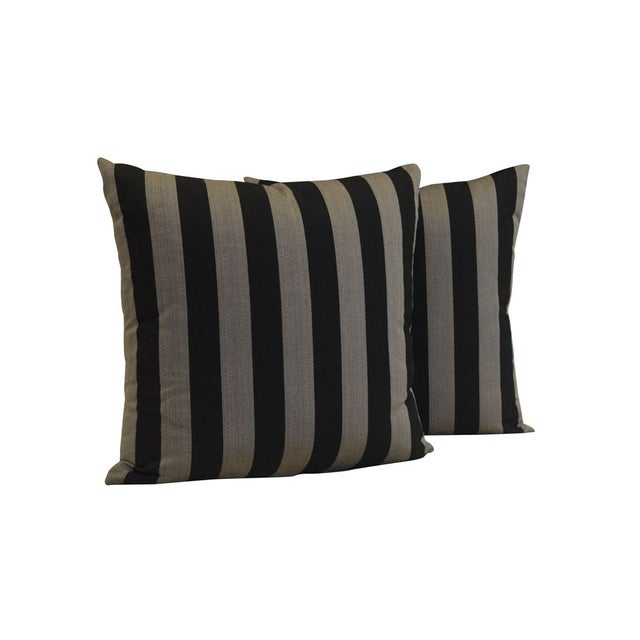 "Custom 22"" x 22"" Black & Grey Striped Pillows For Sale"