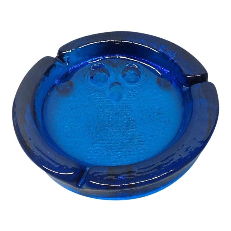 Vintage Cobalt Blue Blenko Art Glass Owl Cigarette Ashtray Chairish