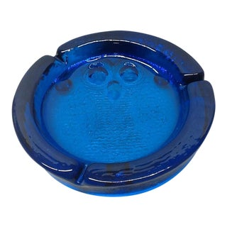 Vintage Cobalt Blue Blenko Art Glass Owl Cigarette Ashtray For Sale