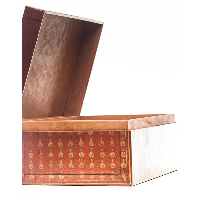 2010s Lawrence & Scott Mandarin Red Bells Leather Box For Sale - Image 5 of 7