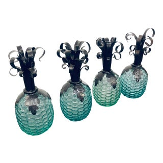 Vintage Glass Hand-Blown Decorative Pineapple Jars - Set of 4 For Sale