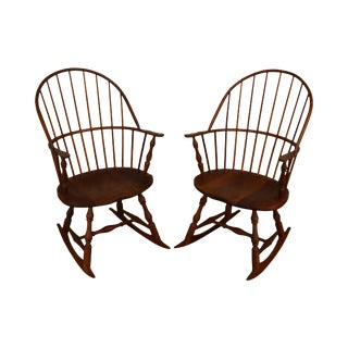 Martin's Chair Shop Inc. Bench Made Solid Cherry Sackback Pair of Windsor Rockers (F) For Sale