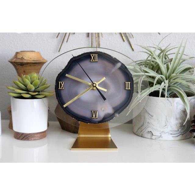 Modern Gray Agate Desk Clock - Image 3 of 8