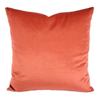 "F. Schumacher Sophia Velvet in Persimmon Pillow Cover - 20"" X 20"" Solid Coral Velvet Cushion Case For Sale"
