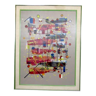 Colorful Framed Abstract Oil Painting For Sale