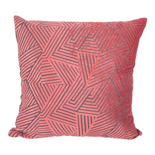 "Piper Collection Coral Velvet ""Olivia"" Pillow For Sale"