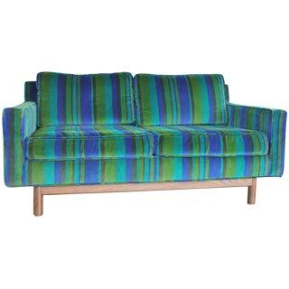Vintage Mid-Century Blue & Green Velvet Sofa