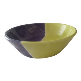 Italian Purple and Lime Green Color-Blocked Bowl For Sale