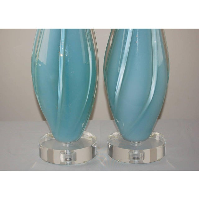 Murano Vintage Murano Opaline Glass Table Lamps Blue For Sale - Image 4 of 9