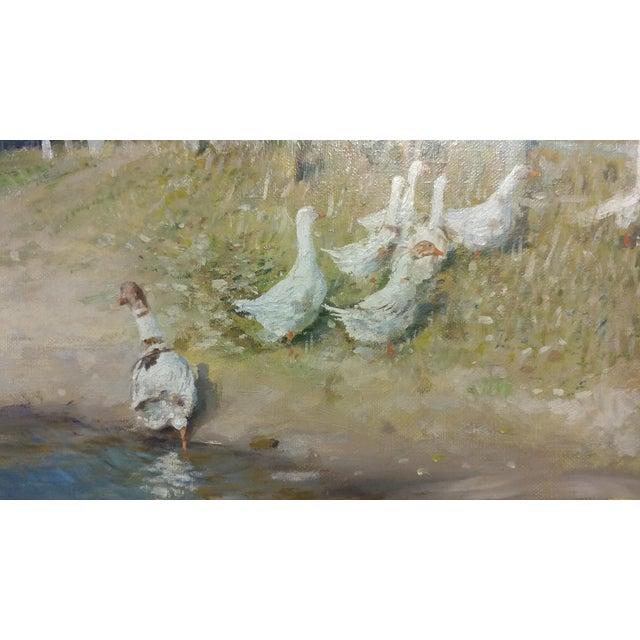 "Oil Paint Gari Melchers ""Belmont Lakeshore View"" Oil Painting c.1920s For Sale - Image 7 of 10"