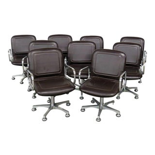 Mid Century Modern Black Leather and Chrome Office Chairs - Set of 9