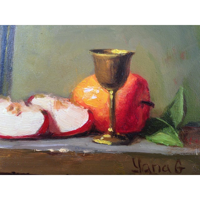 Still Life Painting with Apples, Teapot & Goblet - Image 3 of 3