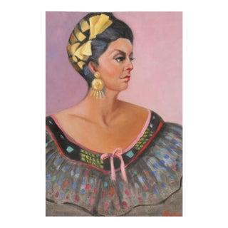 Original Portrait of a Woman Vintage Dress