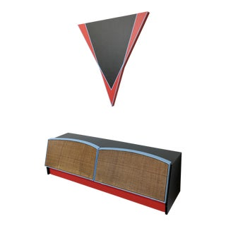 Abstract Edwin Ruda Inspired Floating Credenza and Wall Hanging