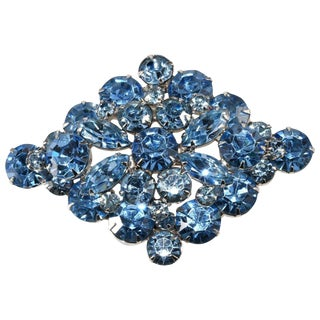 1950s Rhinestone Brooch Light Blue Diamond Shaped Vintage Costume Jewelry Pin For Sale