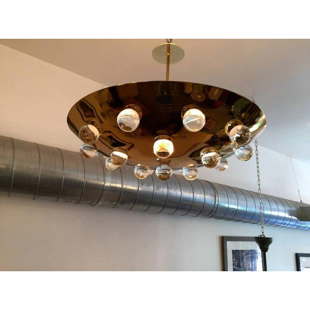 1960s Mid-Century Modern French Brass Crystal Orb Pendant Lighting For Sale - Image 4 of 10