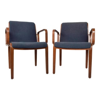 Pair of Midcentury Knoll BentWood Arm Chairs by Bill Stephens 1970s For Sale