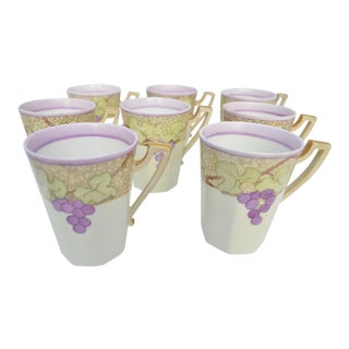 Purple and Gold Tressemann & Vogt Limoges French Mugs - Set of Eight For Sale
