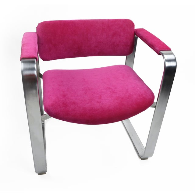 A dazzling Scandinavian Modern executive armchair by famed Finnish designer Eero Aarnio for Mobel Italia (1968). The frame...