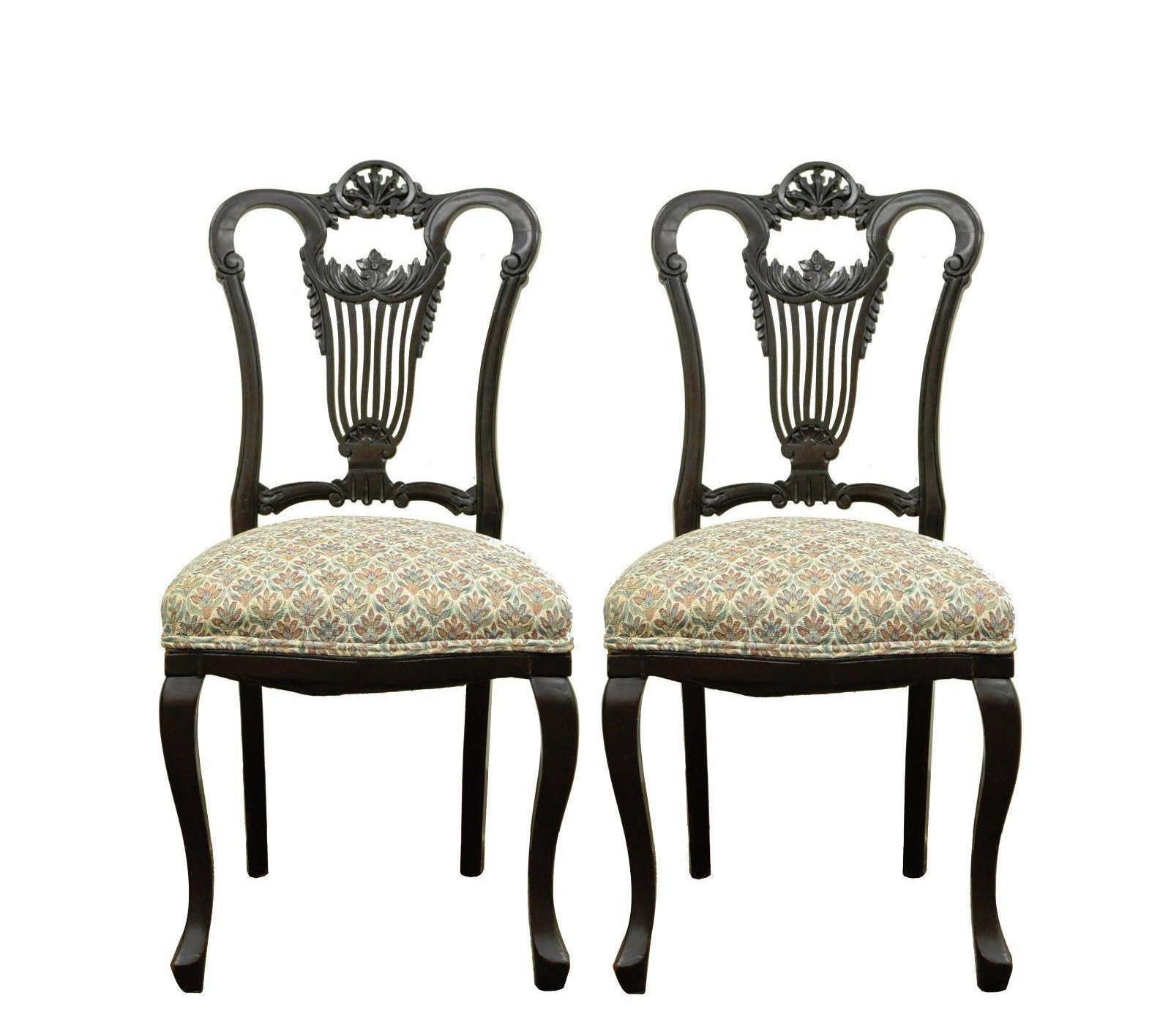 Pair Of Antique Victorian Carved Mahogany Lyre Back Accent Side Chairs  French   Image 11 Of