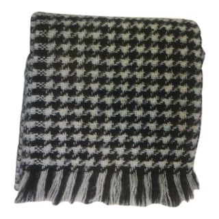 Kravet Black & White Houndstooth Mohair Throw Blanket For Sale