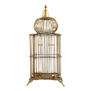 1970s Vintage Ethan Allen Brass Bird Cage For Sale