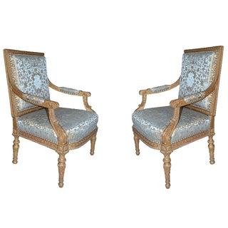 19th C French Giltwood Armchairs - a Pair For Sale