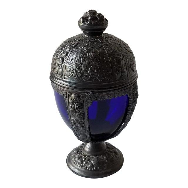 1920s Progress Novelty Casting Works Cobalt Blue Candy Dish For Sale