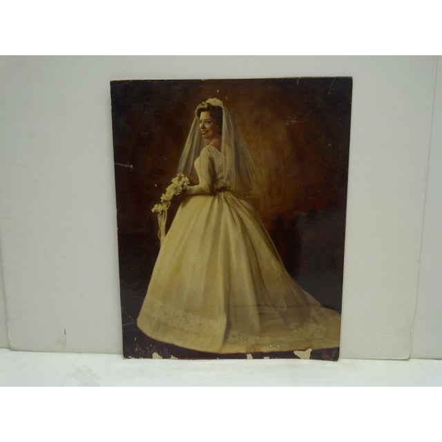 """This is a Vintage Color Photograph (Mounted On Board) - Titled """"Beautiful Wedding Dress"""" - Circa 1960"""