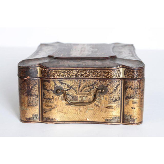 Asian 19th Century Chinese Export Chinoiserie Lacquer Sewing Box For Sale - Image 3 of 13