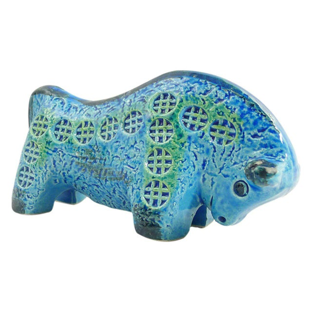 Italian Rimini Blu Ceramic Bull Sculpture by Aldo Londi For Sale - Image 3 of 5