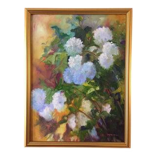 """Snowballs (Viburnum)"" Contemporary Plein Air Garden Scene Oil Painting by Marina Movshina, Framed For Sale"