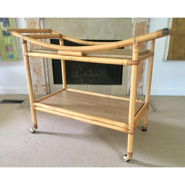 Mid-Century Bamboo Bar Cart For Sale - Image 9 of 10