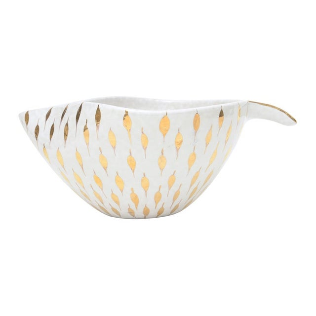Aldo Londi for Bitossi Gold Painted White Ceramic Bowl Vintage For Sale - Image 11 of 11