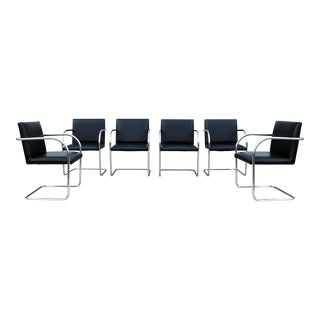 1990s Mid-Centruy Modern Gordon Black Leather Brno Tubular Chairs - Set of 6 For Sale