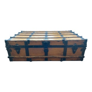 Early 20th Century R. H. Macy & Co. Flat Top Steamer Trunk Coffee Table For Sale