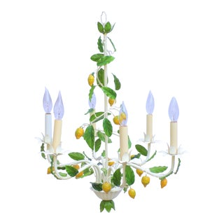 1950's Italian Lemon Tree Tole Chandelier - 6 Arm For Sale