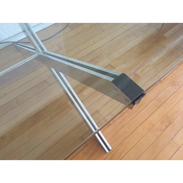 Campaign Rare Large Aluminum & Glass Floating X-base Table by John Vesey For Sale - Image 3 of 5