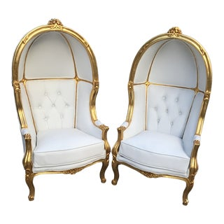 French White Tufted Throne Children Size Balloon Chairs - a Pair For Sale