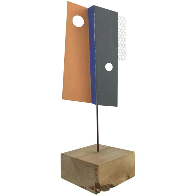 1980s Modern Geometric Perforated Metal Sculpture For Sale - Image 10 of 10