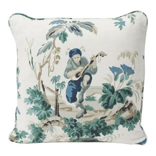 Schumacher Plaisirs De La Chine Linen Print Double-Sided Pillow For Sale
