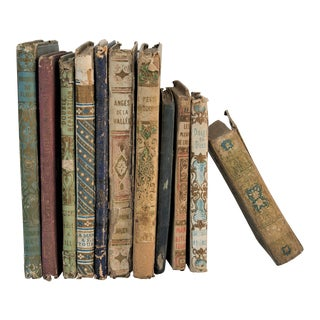 Antique French Shabby Book Collection - Set of 11 For Sale