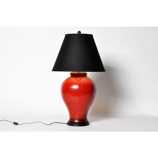 Chinese Red Lacquer Canister Table Lamp For Sale - Image 4 of 11