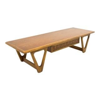 Mid Century Modern Warren Church for Lane Perception 1 Drawer Walnut Coffee Table For Sale