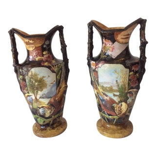 1900s Art Nouveau Painted Pottery Vases - a Pair