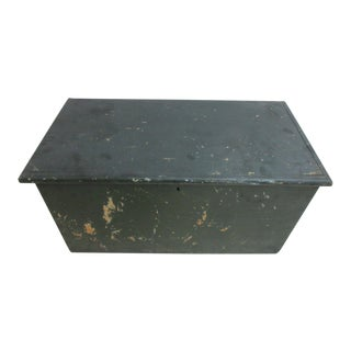 Antique Wood Painted Dovetail Chest Trunk For Sale