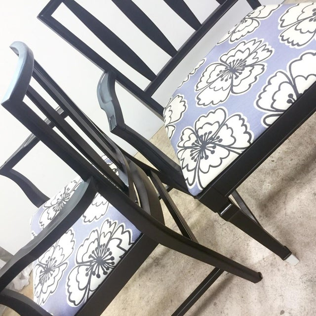 Vintage Black and Lavender Chairs - A Pair - Image 8 of 8