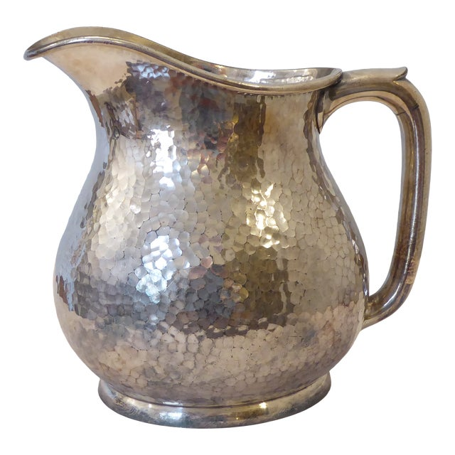 Vintage Reed & Barton Hammered Silvery Pitcher For Sale