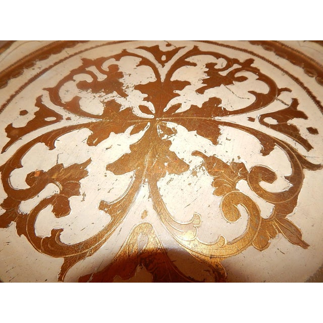 Italian Gold Gilt Wood Florentine Round Pedestal Side Table - Image 10 of 10